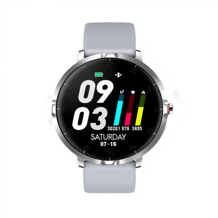 Ceas smartwatch, Twinkler TKY-K16, Gri, Bratara silicon, Monitorizare ritm cardiac, Pedometru, Notificari, 8 moduri sportive [1]