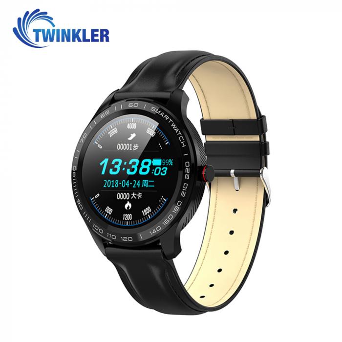 Ceas Smartwatch Twinkler TKY-M9 (L9) cu functie de monitorizare ritm cardiac, Tensiune arteriala, EKG, Nivel oxigen, Notificari Apel/ SMS, Incarcare magnetica, Negru [0]