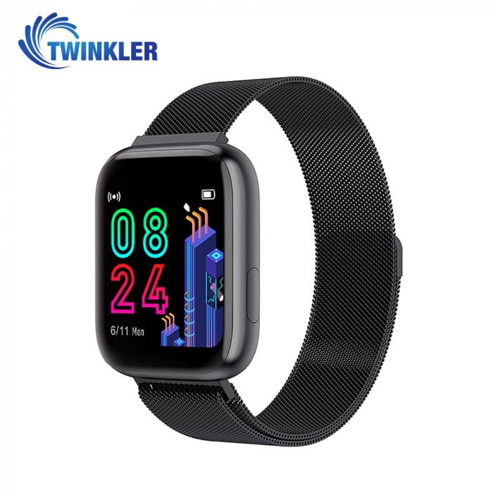 Ceas Smartwatch Twinkler TKY-P4 Metal cu functie de monitorizare ritm cardiac, Tensiune arteriala, Nivel oxigen, Distanta parcursa, Afisare mesaje, Prognoza meteo, Negru [0]