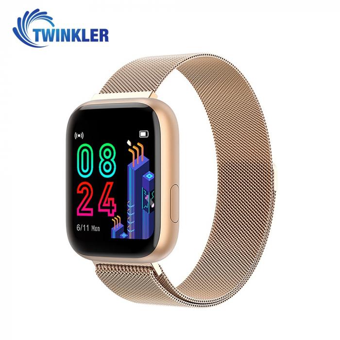 Ceas Smartwatch Twinkler TKY-P4 Metal cu functie de monitorizare ritm cardiac, Tensiune arteriala, Nivel oxigen, Distanta parcursa, Afisare mesaje, Prognoza meteo, Auriu [0]