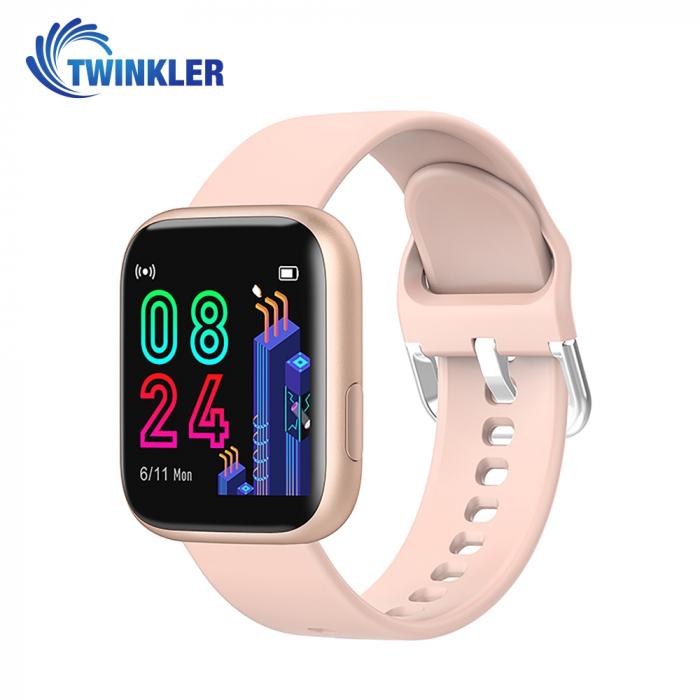 Ceas Smartwatch Twinkler TKY-P4 Silicon cu functie de monitorizare ritm cardiac, Tensiune arteriala, Nivel oxigen, Distanta parcursa, Afisare mesaje, Prognoza meteo, Auriu [0]