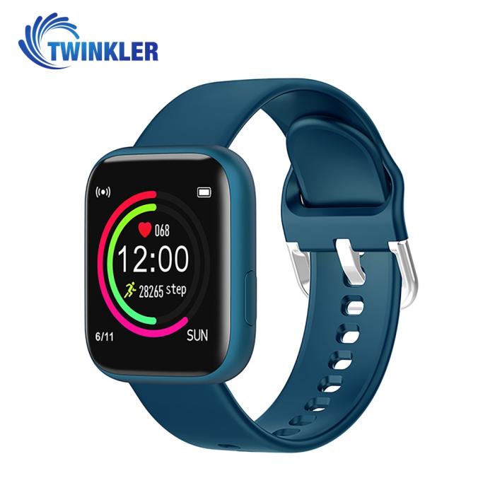 Ceas Smartwatch Twinkler TKY-P4 Silicon cu functie de monitorizare ritm cardiac, Tensiune arteriala, Nivel oxigen, Distanta parcursa, Afisare mesaje, Prognoza meteo, Albastru [0]
