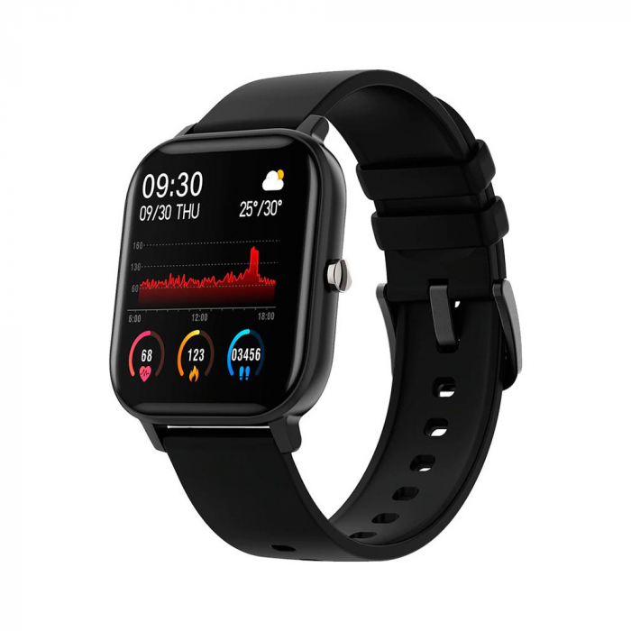 Ceas Smartwatch Twinkler TKY-P8, Negru, Masurare ritm cardiac, Pedometru, Moduri sportive, Memento sedentar [0]