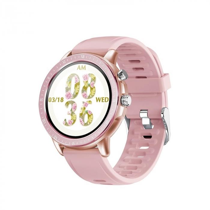 Ceas smartwatch, Twinkler TKY-S02, Roz-Auriu, Functie masurarea ritmului cardiac, Rezistenta la apa IP54, 23 moduri sportive [0]