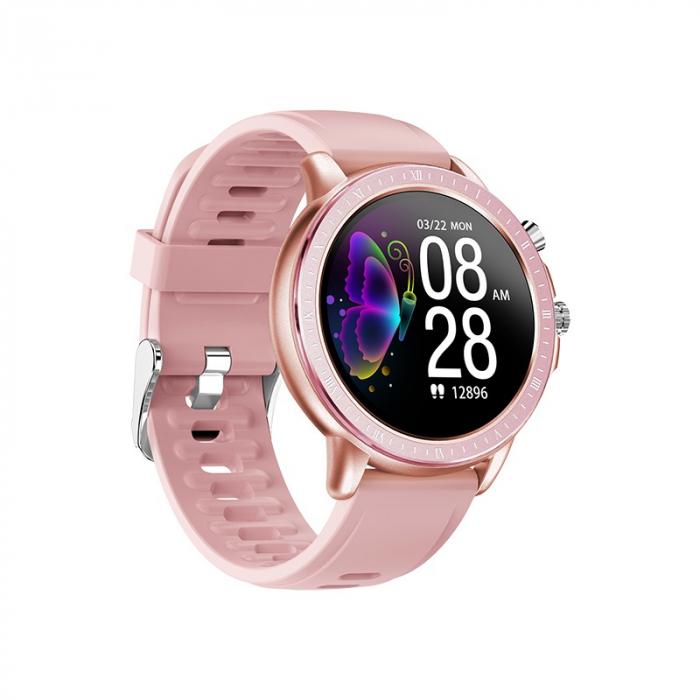 Ceas smartwatch, Twinkler TKY-S02, Roz-Auriu, Functie masurarea ritmului cardiac, Rezistenta la apa IP54, 23 moduri sportive [2]