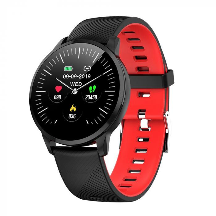Ceas Smartwatch Twinkler TKY-S16, Rosu si Negru, Monitorizare ritm cardiac, Tensiune arteriala, Calorii, Distanta parcursa [0]