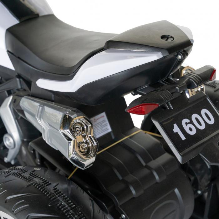 Motocicleta electrica copii Rich Baby cu acumulator, muzica si lumini, culoare alb/negru [6]