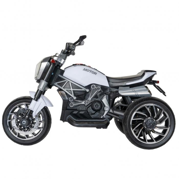 Motocicleta electrica copii Rich Baby cu acumulator, muzica si lumini, culoare alb/negru [3]