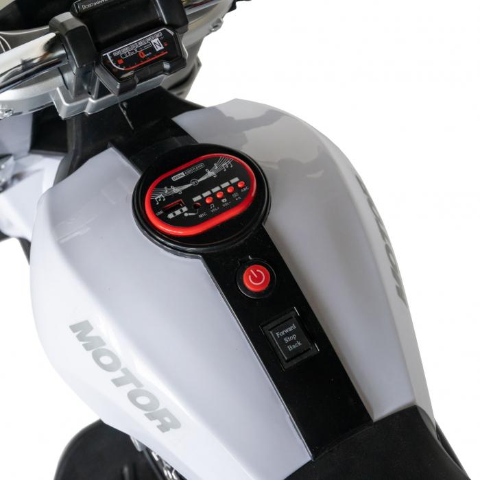 Motocicleta electrica copii Rich Baby cu acumulator, muzica si lumini, culoare alb/negru [7]
