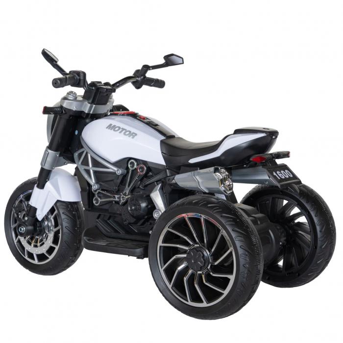 Motocicleta electrica copii Rich Baby cu acumulator, muzica si lumini, culoare alb/negru [4]