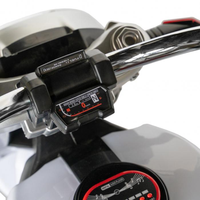 Motocicleta electrica copii Rich Baby cu acumulator, muzica si lumini, culoare alb/negru [9]