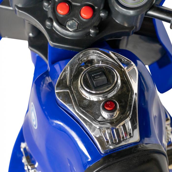 Motocicleta electrica copii Rich Baby cu baterie, muzica si girofar, culoare albastru [7]