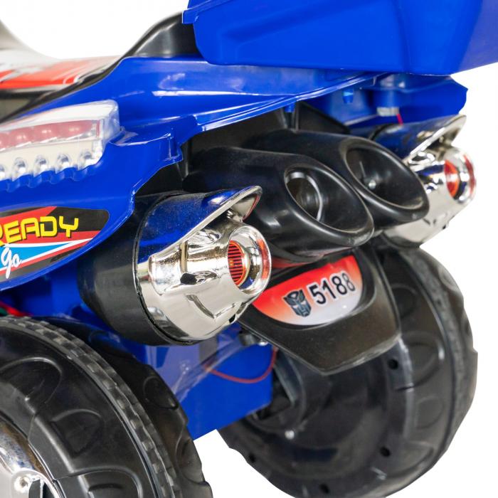 Motocicleta electrica copii Rich Baby cu baterie, muzica si girofar, culoare albastru [6]