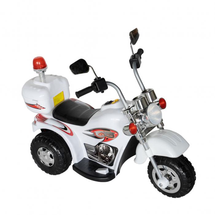 Motocicleta electrica Rich Baby copii cu acumulator, muzica si lumini, culoare alb [1]