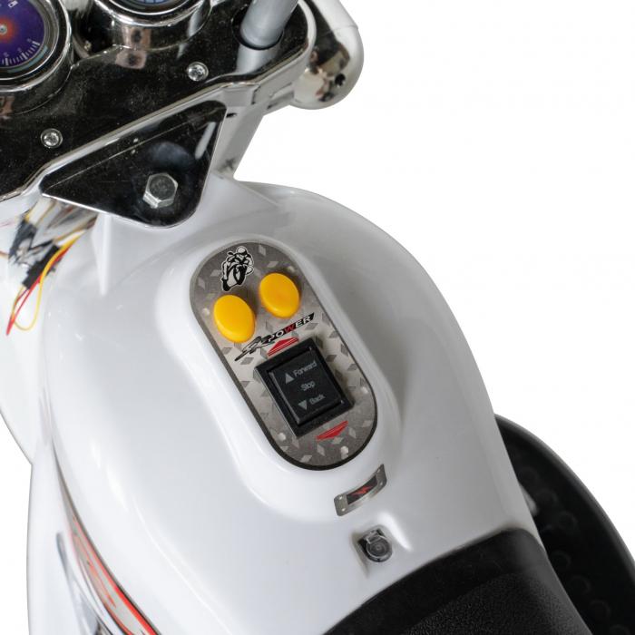 Motocicleta electrica Rich Baby copii cu acumulator, muzica si lumini, culoare alb [6]
