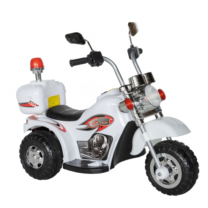 Motocicleta electrica Rich Baby copii cu acumulator, muzica si lumini, culoare alb [0]