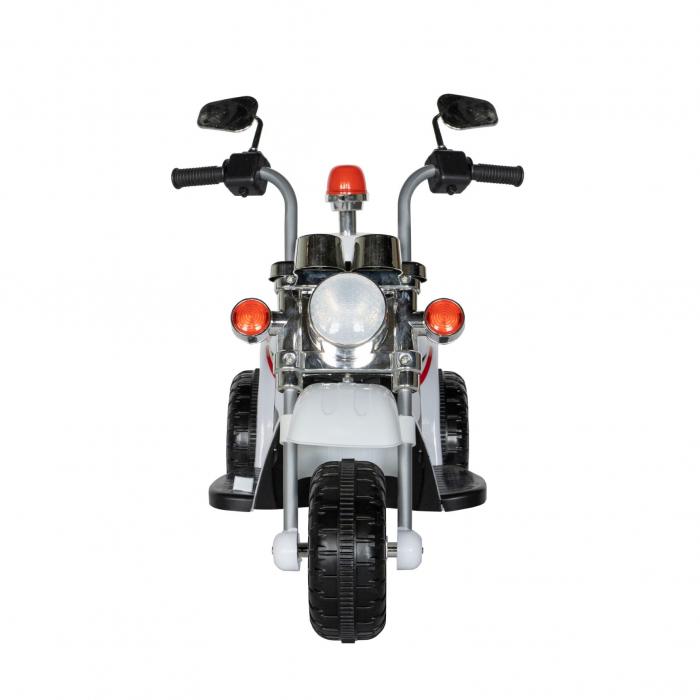 Motocicleta electrica Rich Baby copii cu acumulator, muzica si lumini, culoare alb [2]