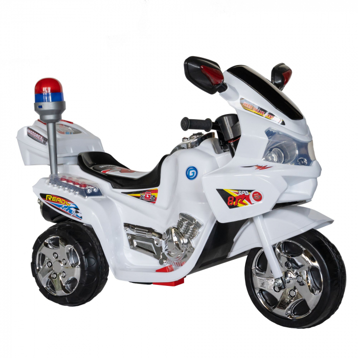 Motocicleta electrica Rich Baby copii cu baterie, muzica si girofar, culoare alb [1]