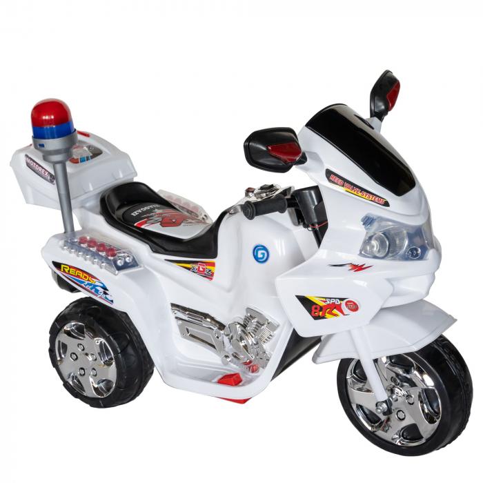 Motocicleta electrica Rich Baby copii cu baterie, muzica si girofar, culoare alb [0]