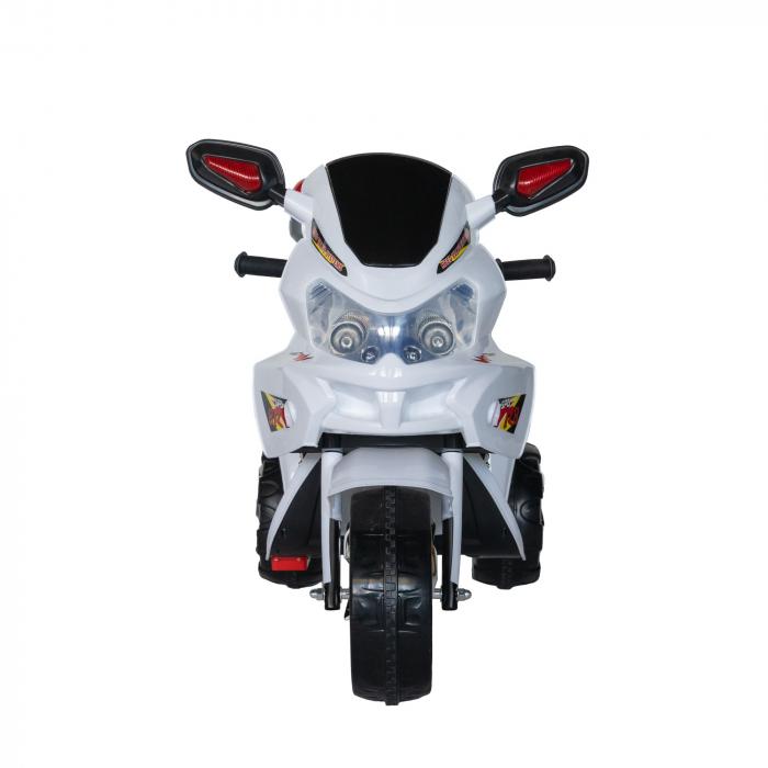 Motocicleta electrica Rich Baby copii cu baterie, muzica si girofar, culoare alb [2]