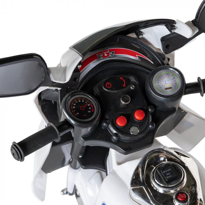 Motocicleta electrica Rich Baby copii cu baterie, muzica si girofar, culoare alb [7]