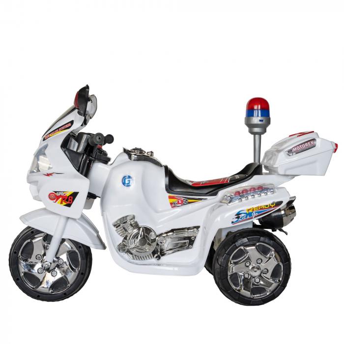 Motocicleta electrica Rich Baby copii cu baterie, muzica si girofar, culoare alb [4]
