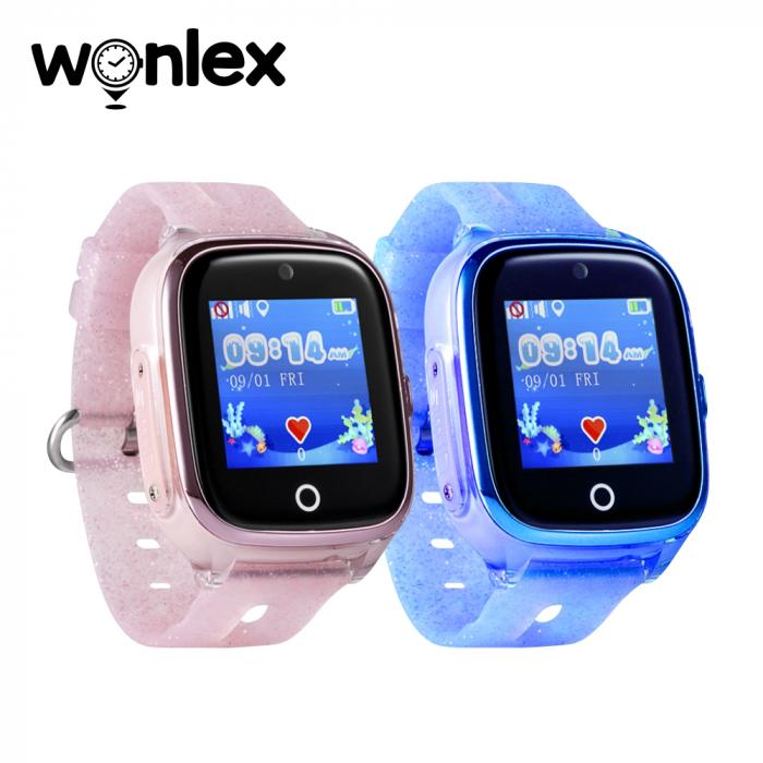 Pachet Promotional 2 Smartwatch-uri Pentru Copii Wonlex KT01 cu Functie Telefon, Localizare GPS, Camera, Pedometru, SOS, IP54, Roz + Albastru, Cartela SIM Cadou [1]