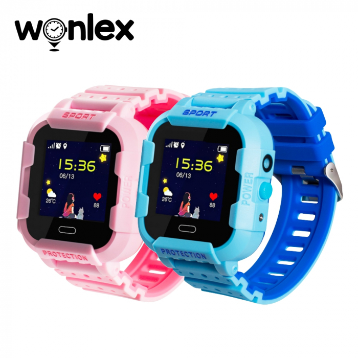 Pachet Promotional 2 Smartwatch-uri Pentru Copii Wonlex KT03 cu Functie Telefon, Localizare GPS, Camera, Pedometru, SOS, IP54 ; Roz + Albastru, Cartela SIM Cadou [0]