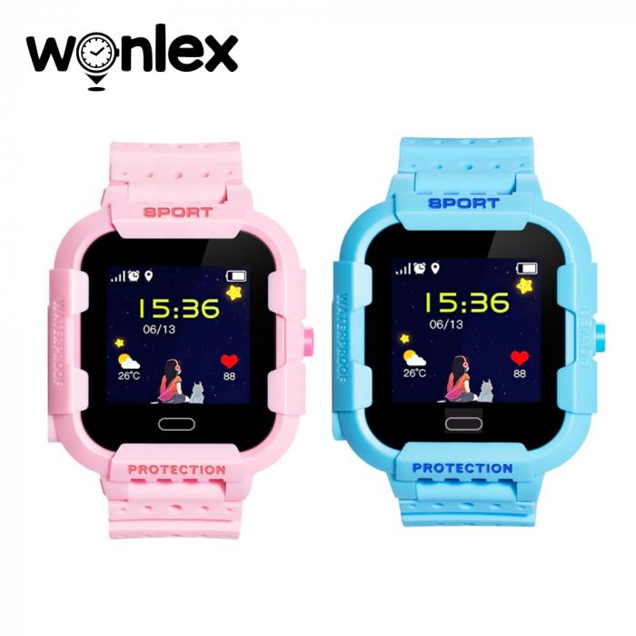Pachet Promotional 2 Smartwatch-uri Pentru Copii Wonlex KT03 cu Functie Telefon, Localizare GPS, Camera, Pedometru, SOS, IP54 ; Roz + Albastru, Cartela SIM Cadou [1]