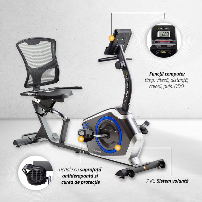 Bicicleta fitness orizontala cu spatar Techfit R410 [6]