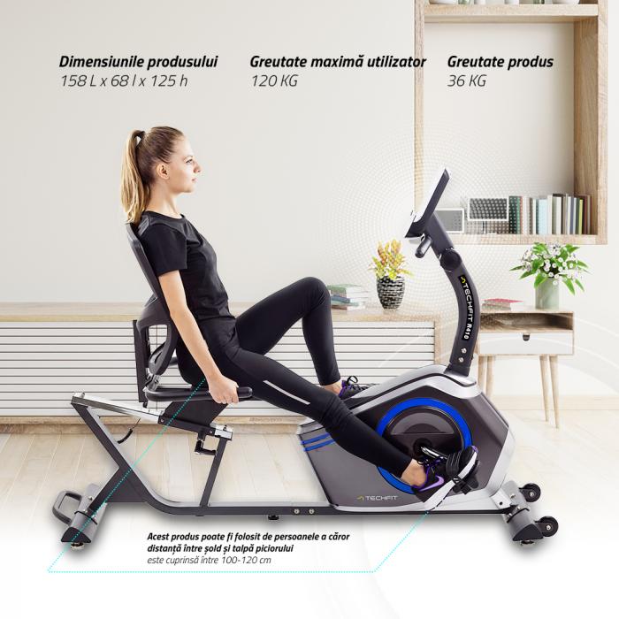 Bicicleta fitness orizontala cu spatar Techfit R410 [7]