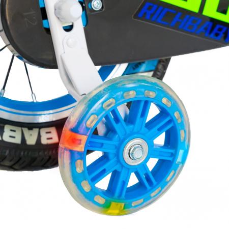 """Bicicleta baieti Rich Baby R1407A, roata 14"""", C-Brake, roti ajutatoare cu LED, 3-5 ani, albastru/verde  [2]"""