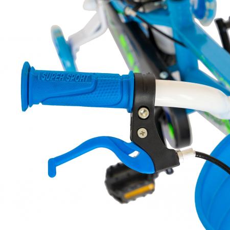 """Bicicleta baieti Rich Baby R1407A, roata 14"""", C-Brake, roti ajutatoare cu LED, 3-5 ani, albastru/verde  [7]"""