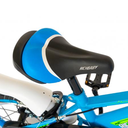 """Bicicleta baieti Rich Baby R1407A, roata 14"""", C-Brake, roti ajutatoare cu LED, 3-5 ani, albastru/verde  [3]"""