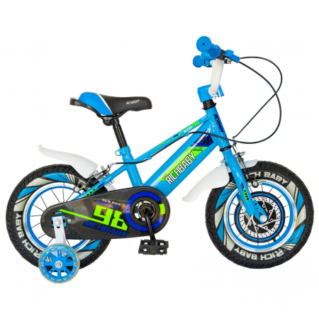 """Bicicleta baieti Rich Baby R1407A, roata 14"""", C-Brake, roti ajutatoare cu LED, 3-5 ani, albastru/verde  [0]"""