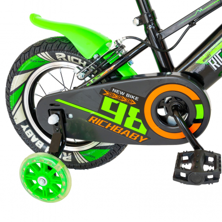 """Bicicleta baieti Rich Baby R1407A, roata 14"""", C-Brake, roti ajutatoare cu LED, 3-5 ani, negru/verde  [1]"""