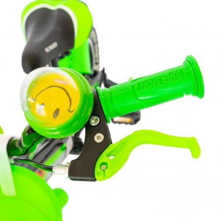 """Bicicleta baieti Rich Baby R1407A, roata 14"""", C-Brake, roti ajutatoare cu LED, 3-5 ani, negru/verde  [8]"""