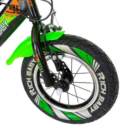 """Bicicleta baieti Rich Baby R1407A, roata 14"""", C-Brake, roti ajutatoare cu LED, 3-5 ani, negru/verde  [5]"""