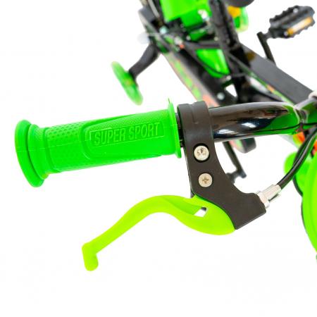 """Bicicleta baieti Rich Baby R1407A, roata 14"""", C-Brake, roti ajutatoare cu LED, 3-5 ani, negru/verde  [7]"""