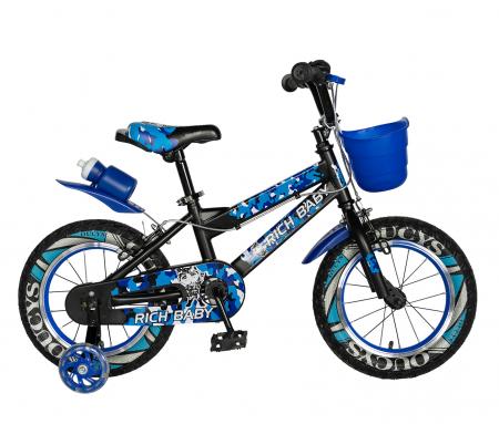 "Bicicleta baieti RICH BABY R14WTA, roata 14"", roti ajutatoare cu LED, 3-5 ani, culoare negru/albastru  [0]"