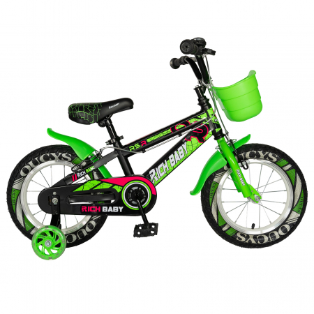 "Bicicleta baieti RICH BABY R14WTB, roata 14"", roti ajutatoare, 3-5 ani, culoare negru/verde  [0]"