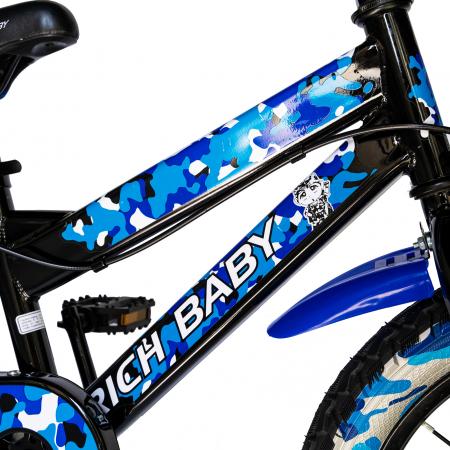 "Bicicleta baieti  RICH BABY R16WTA, roata 16"", roti ajutatoare cu LED, 4-6 ani, culoare negru/albastru    [3]"