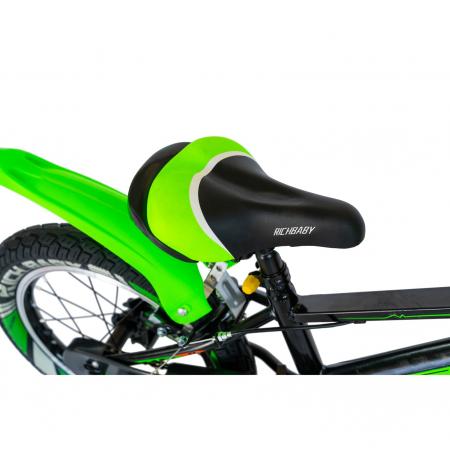 """Bicicleta baieti Rich Baby R1807A, roata 18"""", C-Brake otel, roti ajutatoare cu LED, 5-7 ani, negru/verde [5]"""
