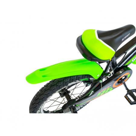 """Bicicleta baieti Rich Baby R1807A, roata 18"""", C-Brake otel, roti ajutatoare cu LED, 5-7 ani, negru/verde [4]"""