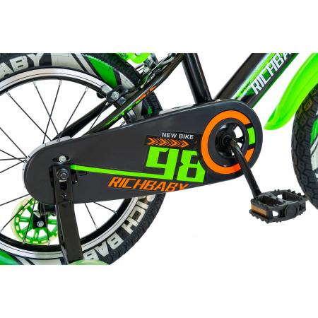 """Bicicleta baieti Rich Baby R1807A, roata 18"""", C-Brake otel, roti ajutatoare cu LED, 5-7 ani, negru/verde [2]"""