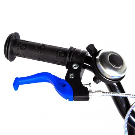 "Bicicleta baieti RICH BABY R18WTA, roata 18"", roti ajutatoare cu LED, 5-7 ani, negru negru/albastru [9]"
