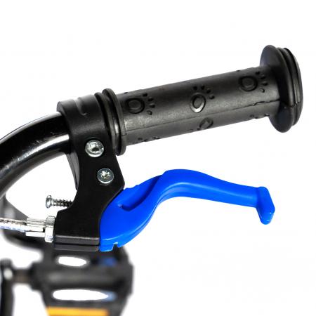 "Bicicleta baieti RICH BABY R18WTA, roata 18"", roti ajutatoare cu LED, 5-7 ani, negru negru/albastru [10]"