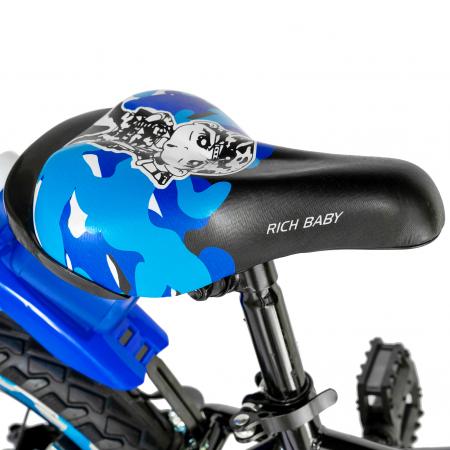"Bicicleta baieti RICH BABY R18WTA, roata 18"", roti ajutatoare cu LED, 5-7 ani, negru negru/albastru [3]"