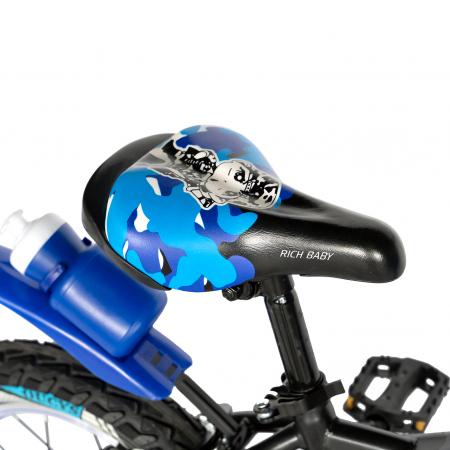 "Bicicleta baieti RICH BABY R18WTA, roata 18"", roti ajutatoare cu LED, 5-7 ani, negru negru/albastru [2]"
