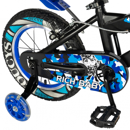 "Bicicleta baieti RICH BABY R18WTA, roata 18"", roti ajutatoare cu LED, 5-7 ani, negru negru/albastru [1]"